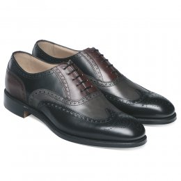 James II Wingcap Brogue in Black Grey & Burgundy Calf Leather
