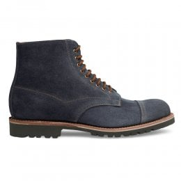 Jarrow Derby Boot in Blue Waxy Suede