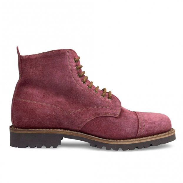 Cheaney Jarrow Derby Boot in Red Waxy Suede