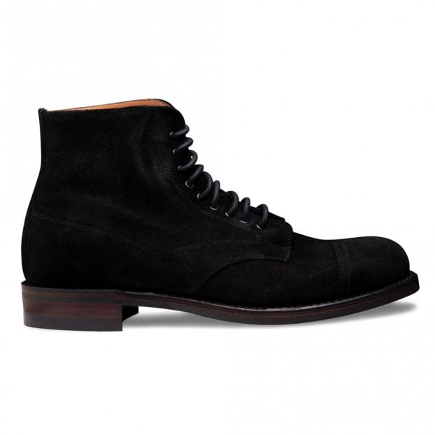 Cheaney Jarrow R Derby Boot in Black Waxy Suede