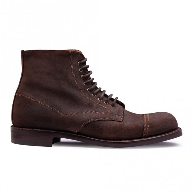 Cheaney Jarrow R Derby Boot in Brown Waxy Commander Suede