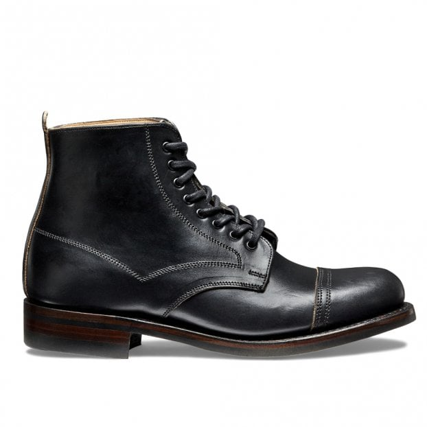 Cheaney Jess Capped Derby Boot in Black Chromexcel Leather