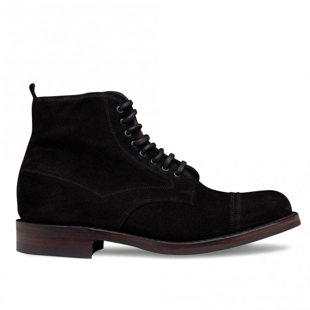 Cheaney Jess Capped Derby Boot in Black Waxy Suede