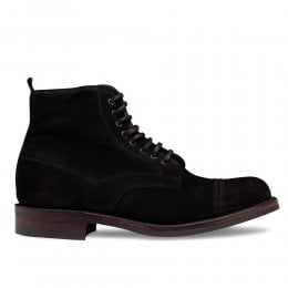 Jess Capped Derby Boot in Black Waxy Suede