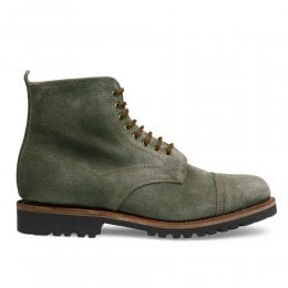 Jess Capped Derby Boot in Green Waxy Suede