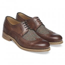 Kate Ladies Wingcap Derby Brogue in Conker Calf Leather/Moons Glen Fabric