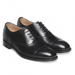 Kelmarsh Oxford Semi Brogue in Black Calf Leather | Leather Sole