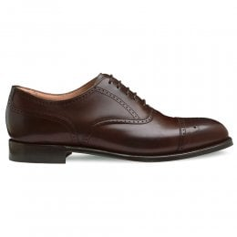 Kelmarsh Oxford Semi Brogue in Dark Brown Calf Leather | Leather Sole