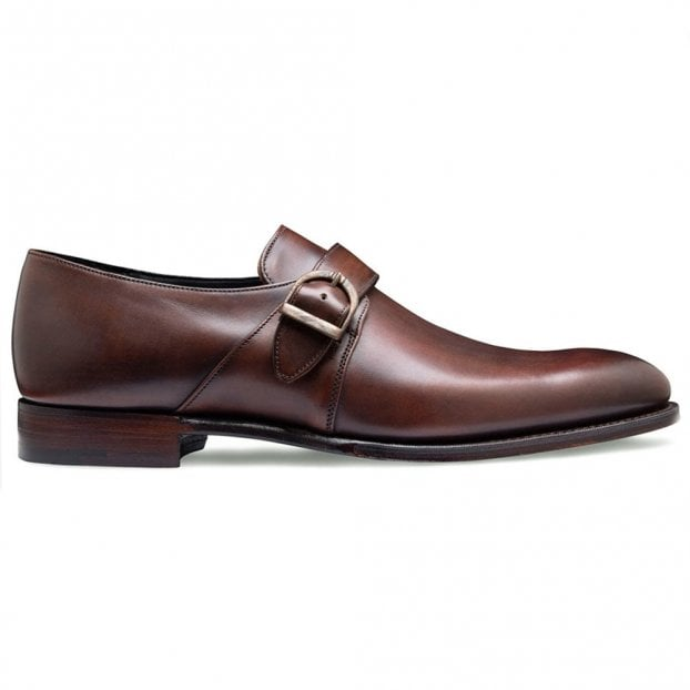 Cheaney Kensal Plain Buckle Monk Shoe in Bronzed Espresso Calf Leather