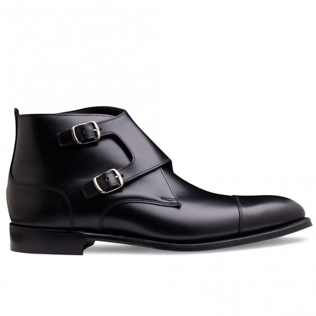 Cheaney Kingston Double Buckle Boot in Black Calf Leather
