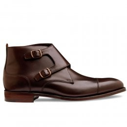 Kingston Double Buckle Boot in Burnished Mocha Calf Leather