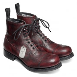 Lancaster II R Military Style Ankle Boot in Black Cherry Calf Leather | Dainite Rubber Sole