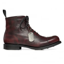 Lancaster II R Military Style Ankle Boot in Black Cherry Goat Skin | Dainite Rubber Sole