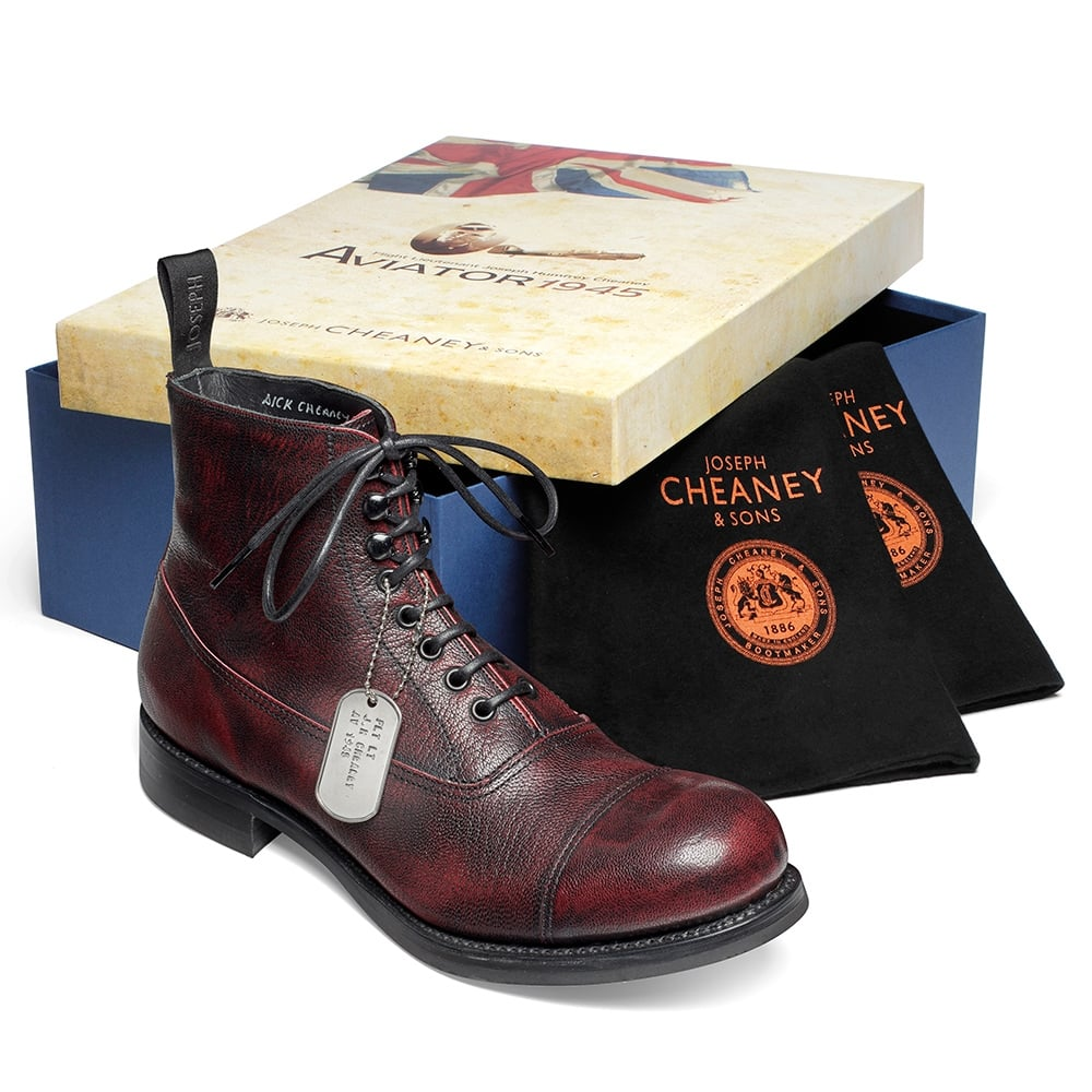 Cheaney Lancaster Black Cherry Military Style Ankle