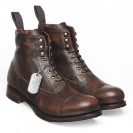 Lancaster Military Style Ankle Boot in Copper Goat Skin | Leather Sole