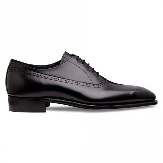 Cheaney Lancaster Punch Capped Oxford in Black Calf Leather