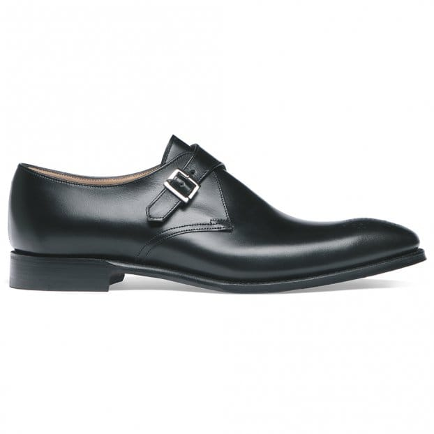Cheaney Leeds Buckle Monk in Black Calf Leather