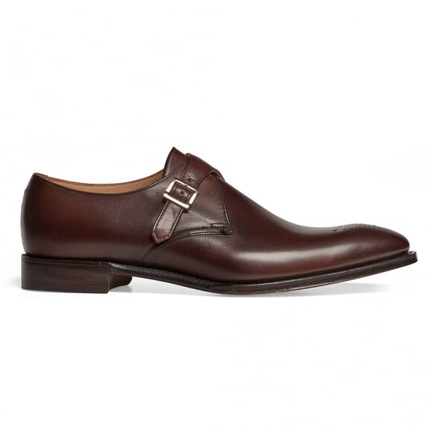 Cheaney Leeds Buckle Monk Shoe in Burnished Mocha Calf Leather