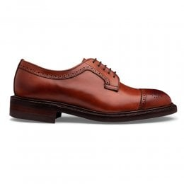 Leiston R Oxford Semi Brogue in Dark Leaf Calf Leather