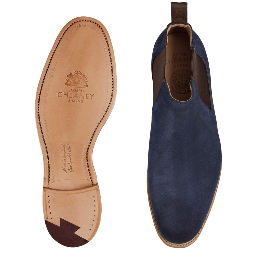 32551935664 Cheaney Lennon Low Cut Chelsea Boot in Navy Suede