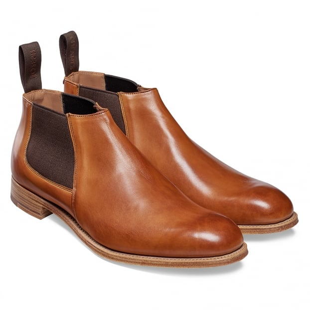 Cheaney Lennon Low Cut Chelsea Boot in Original Chestnut Calf Leather