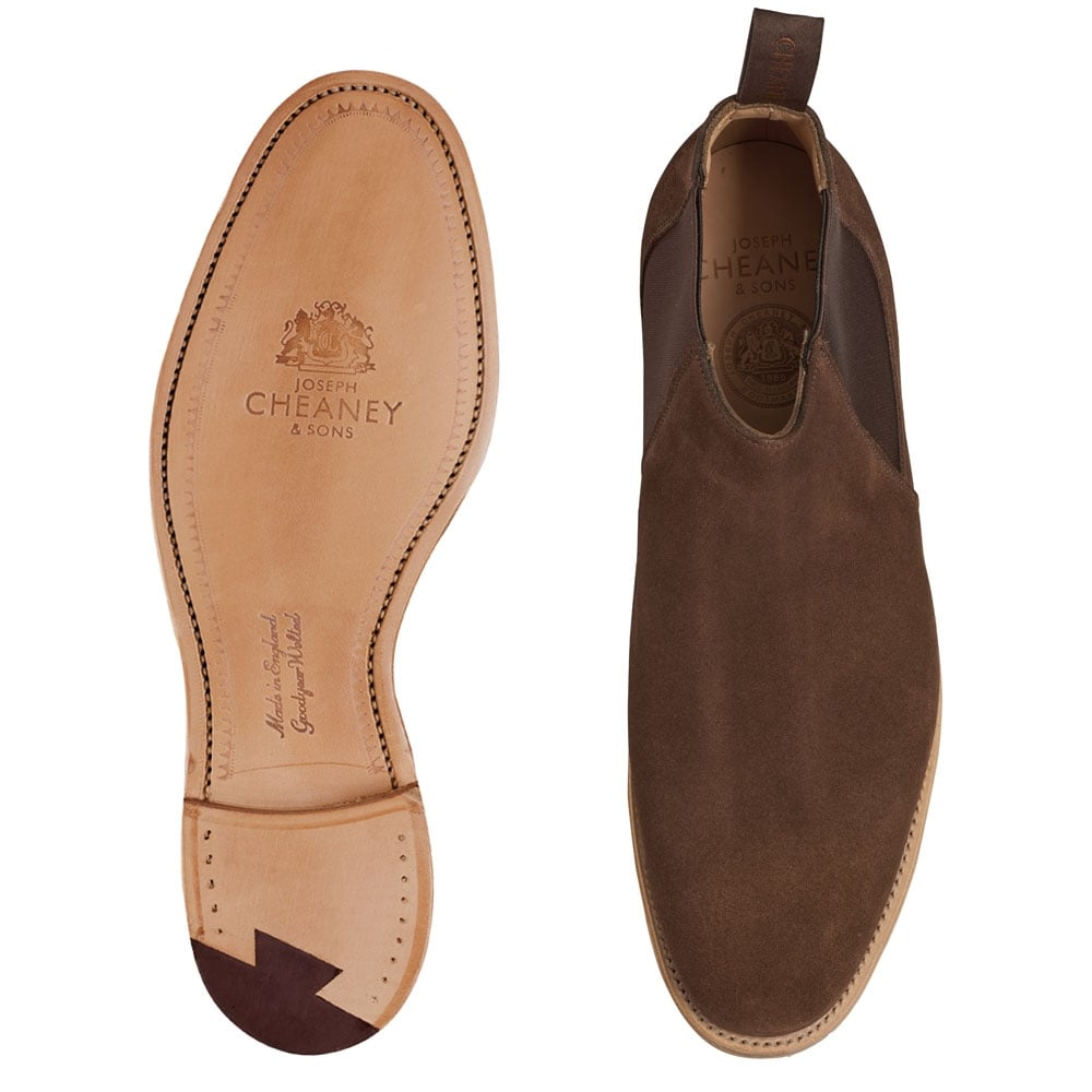 Cheaney Lennon Plough Suede Low Cut Chelsea Boots Made In England D Island Shoes Casual Slip On Brown Boot