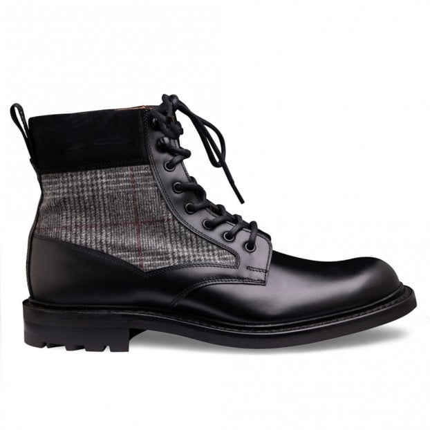 Cheaney Liffey II Derby Boot in Black Calf Leather/Black POW Check
