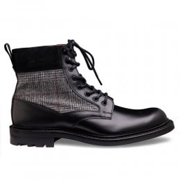 Liffey II Derby Boot in Black Calf Leather/Black POW Check