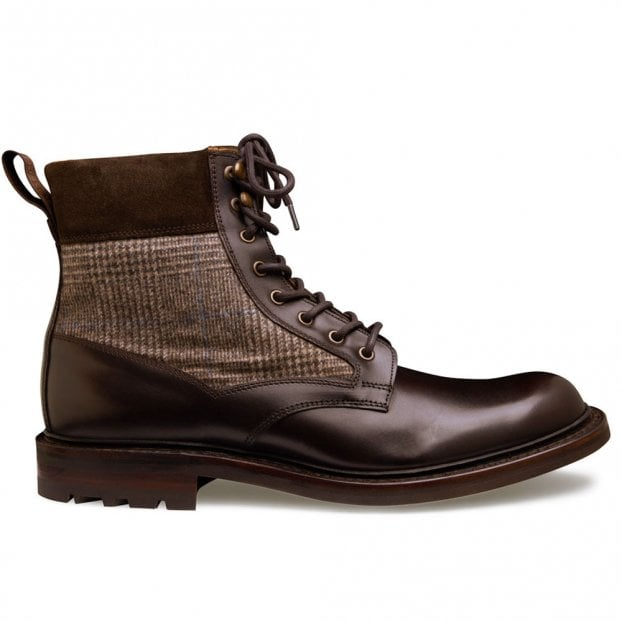Cheaney Liffey II Derby Boot in Mocha Calf Leather/Brown POW Check