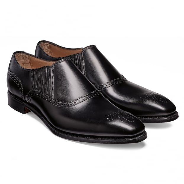 Cheaney Lincoln Side Gusset Loafer in Black Calf Leather