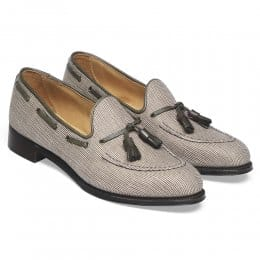 Lorraine Ladies Loafer in Linen Check Fabric