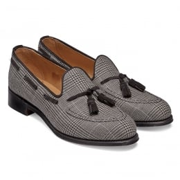 Lorraine Ladies Loafer in Moons Dean Check Fabric/Black Suede