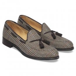 Lorraine Ladies Loafer in Moons Glen Fabric/Brown Suede
