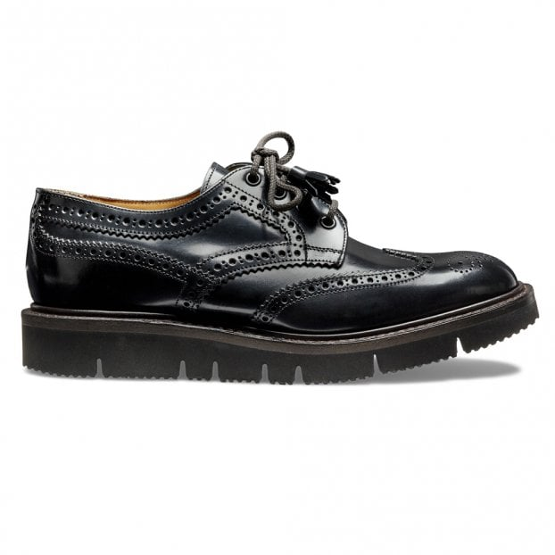 Cheaney Lulu Ladies Wingcap Derby Brogue in Black Hi Shine Leather