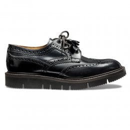 Lulu Ladies Wingcap Derby Brogue in Black Hi Shine Leather