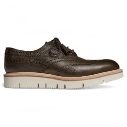 Lulu Wingcap Derby Brogue in Olive Grain Leather