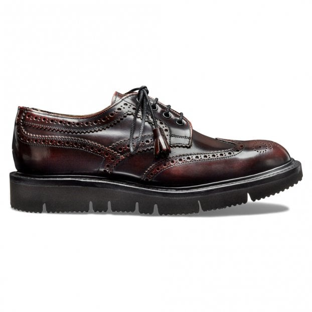 Cheaney Lulu Wingcap Derby Brogue in Burgundy Hi Shine Leather