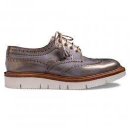 Lulu Wingcap Derby Brogue in Metallic Gold Calf Leather