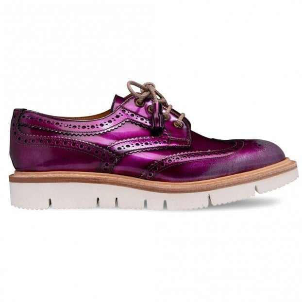 Cheaney Lulu Wingcap Derby Brogue in Metallic Purple/Silver Calf Leather