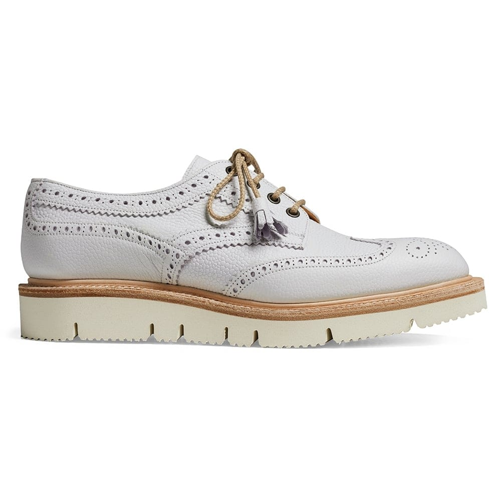 87b8eee15f0642 Lulu Wingcap Derby Brogue in White Grain Leather