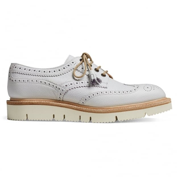 Cheaney Lulu Wingcap Derby Brogue in White Grain Leather