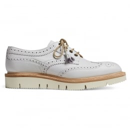 Lulu Wingcap Derby Brogue in White Grain Leather