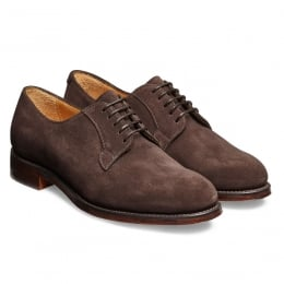 Mabel Ladies Derby in Dark Brown Suede Leather