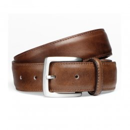 Mahogany Calf Belt with Silver Buckle