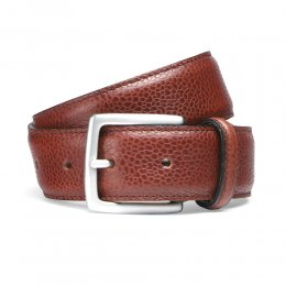 Mahogany Grain Belt with Silver Buckle