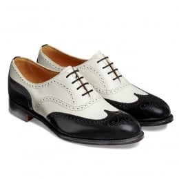 Maisie Alt Ladies Wingcap Oxford Brogue in Black Hi-Shine/Ivory Calf Leather