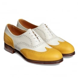 Maisie II Ladies Wingcap Oxford Brogue in Yellow/Ivory Calf Leather