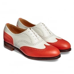 Maisie II Ladies Wingcap Oxford Brogue in Red/Ivory Calf Leather