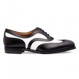 Maisie Wingcap Oxford Brogue in Black/White Calf Leather
