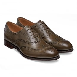 Maisie Ladies Wingcap Oxford Brogue in Burnished Olive Calf Leather